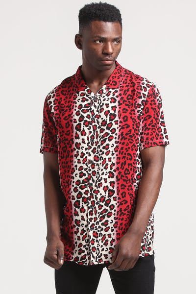 New Slaves Red Leopard Shirt Red/Beige/Black