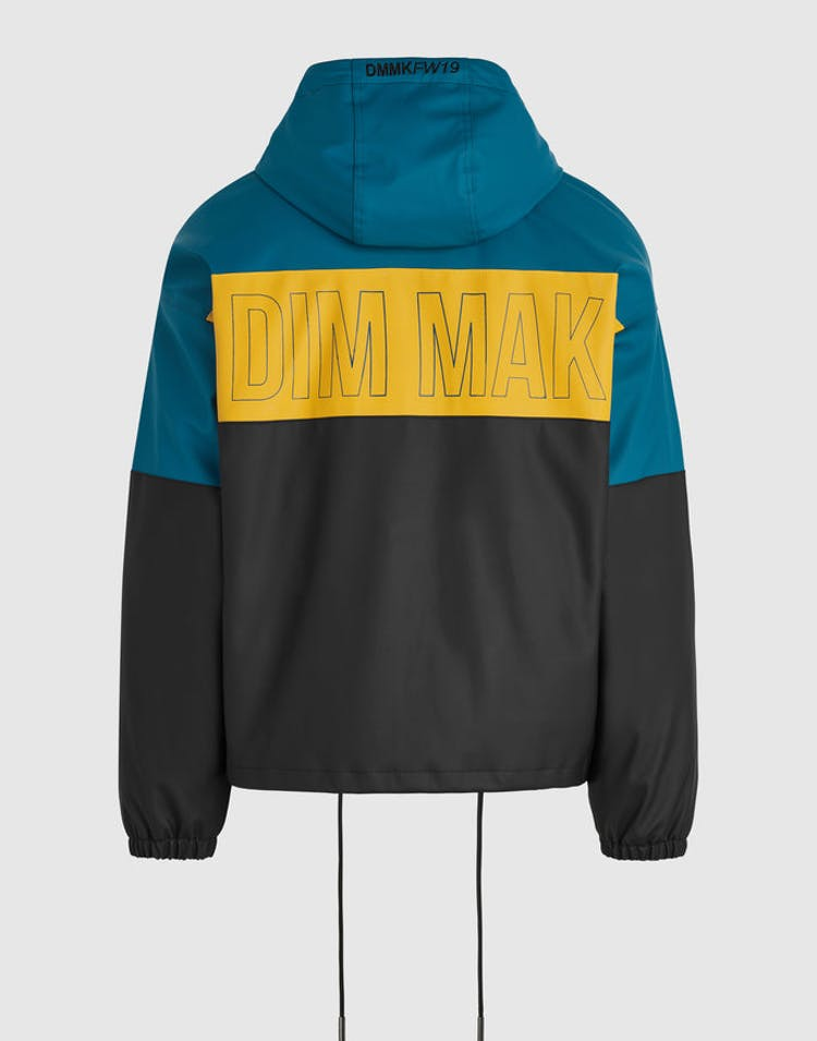 Dim Mak Rubberized Color Block Jacket Teal/Yellow/Black