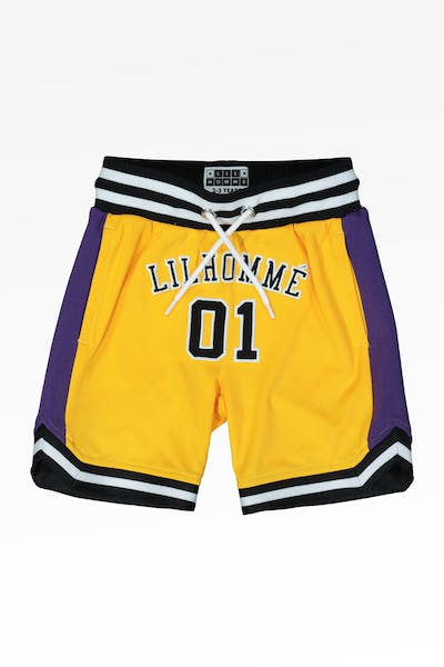 LIL HOMMÉ JOUER BASKETBALL SHORT YELLOW/PURPLE