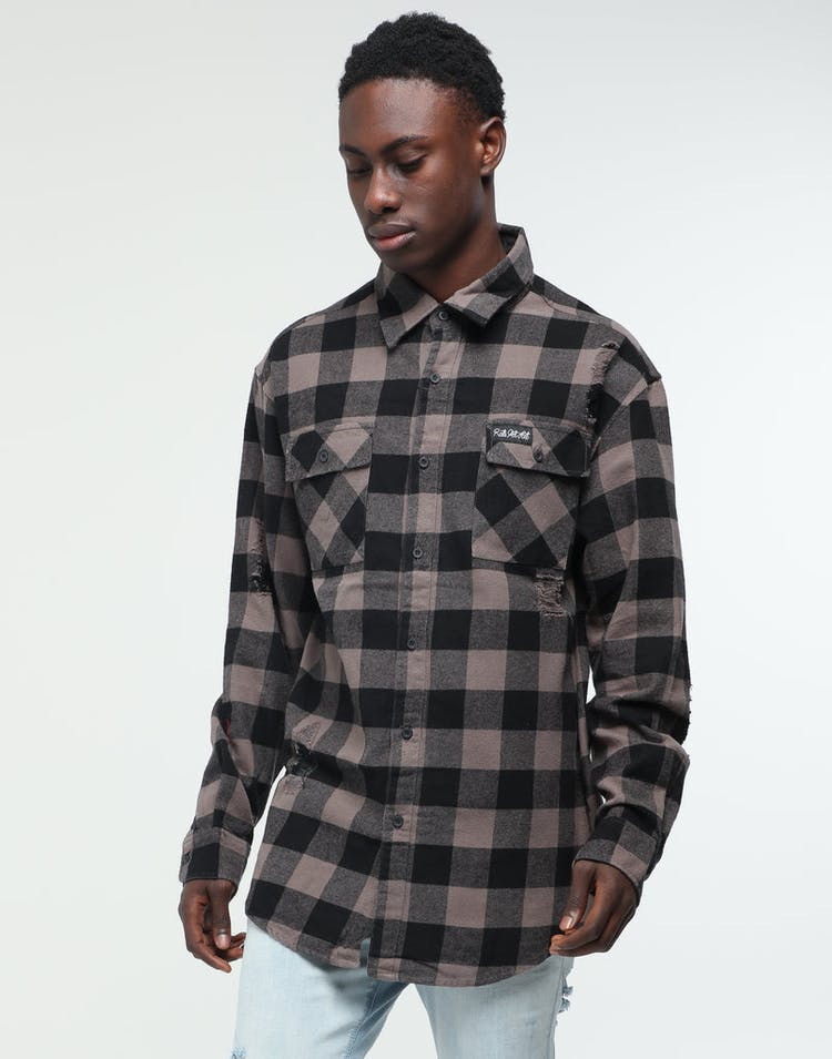 Rats Get Fat Rogue Button Up Grey/Black