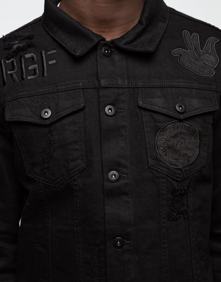 Rats Get Fat Rouge Blackout Denim Jacket Black