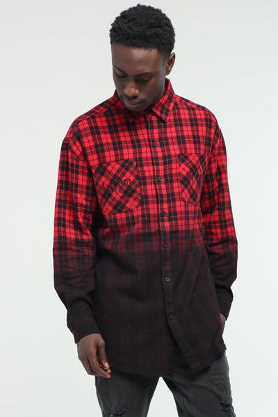 Last Kings Let It Dip Flannel Button Up Red/Black