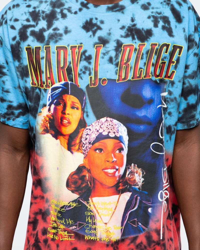 Mary J. Blige Collage Tie Dye Tee Black/Blue/Red