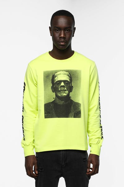 Criminal Damage Frankenstein  LS T-Shirt Fluro Yellow