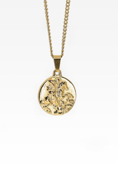 Midnight City St George Pendant & Chain Gold