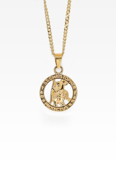 Midnight City St Christopher Pendant & Chain Gold