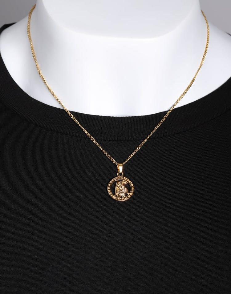2c60b1ce Midnight City St Christopher Pendant & Chain Gold