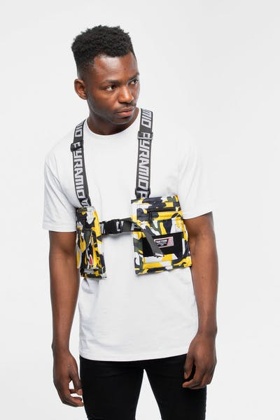 Black Pyramid Camo Splinter Military Vest Yellow