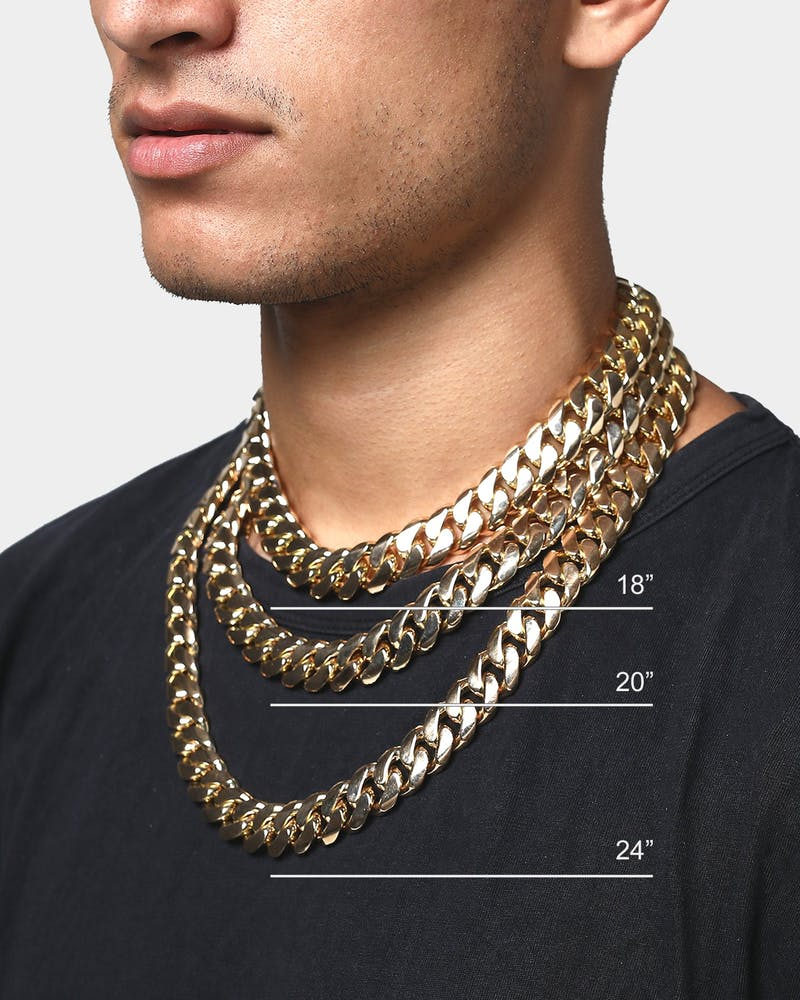 "HOUSE OF AURIC 18MM CUBAN LINK 24"" CHAIN 10K GOLD"