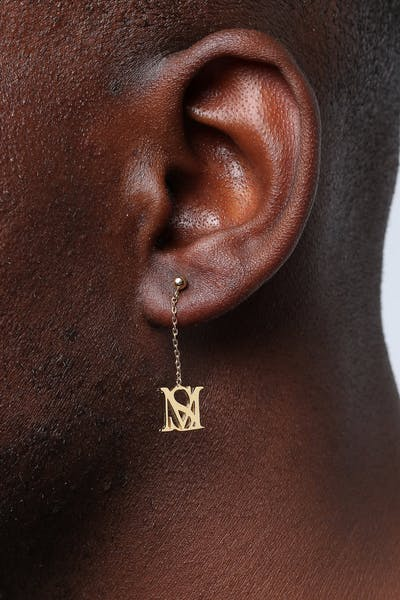 SAINT MORTA MONOGRAM DROP EARRING GOLD