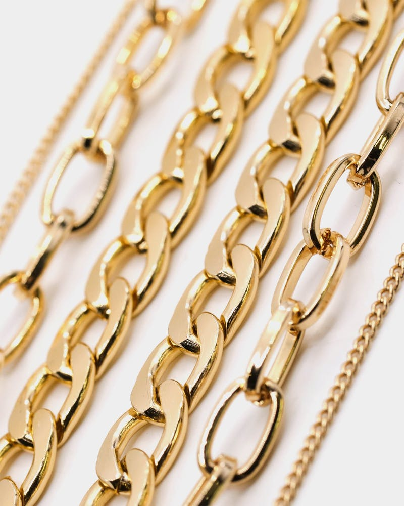 Raising Hell Women's Padlock Stack Necklace Gold