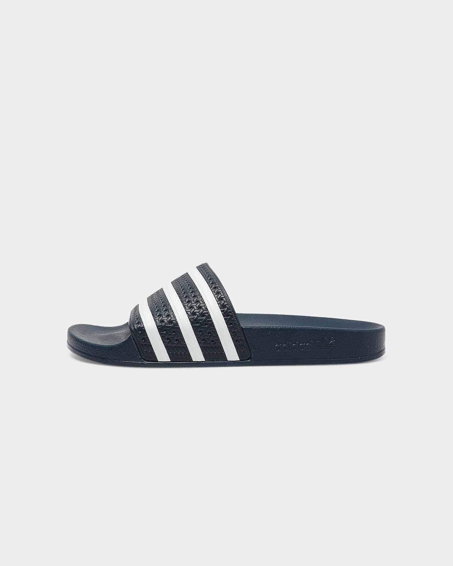 adidas slides navy and white