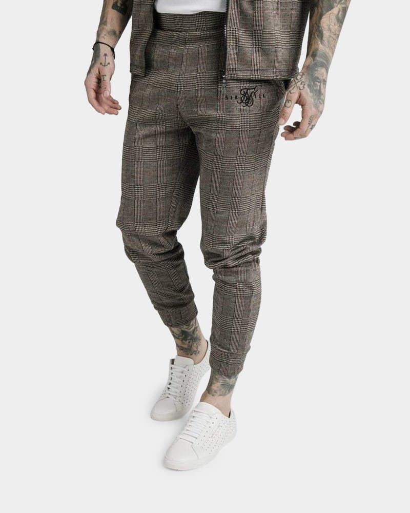 Sik Silk Men's Smart Cuff Pants Brown Dogtooth