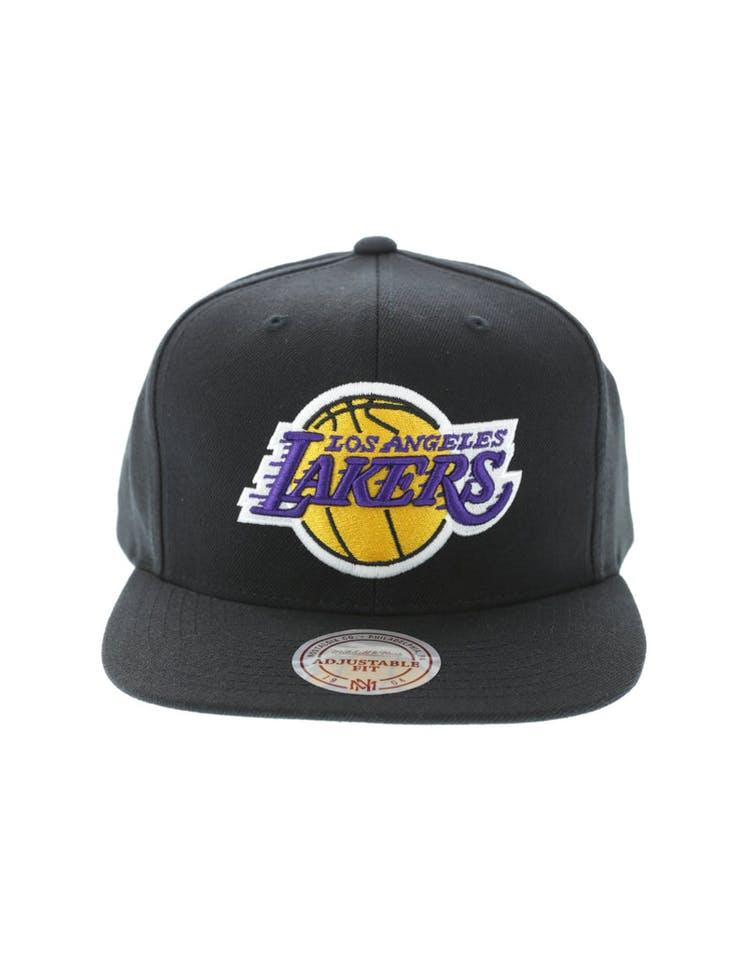 buy online 4ed4b 1996e Mitchell   Ness LA Lakers Wool Solid Snapback Black Green – Culture Kings