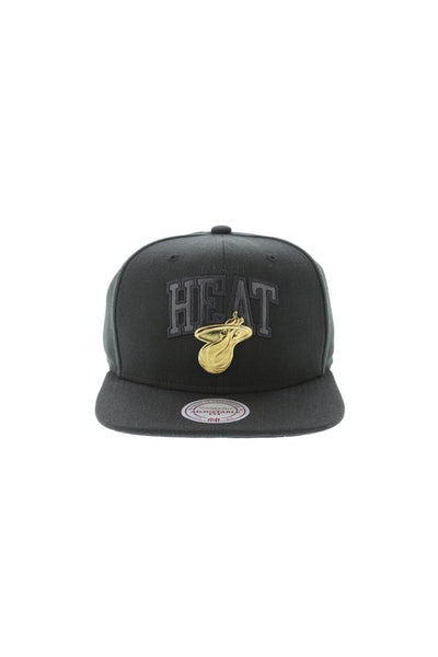 Mitchell & Ness Miami Heat Lux Arch Snapback Black/Gold