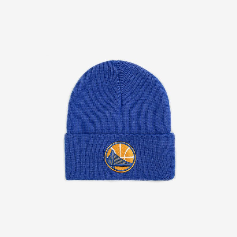 8306334a782 Mitchell   Ness Golden State Warriors Logo Cuff Beanie Blue – Culture Kings