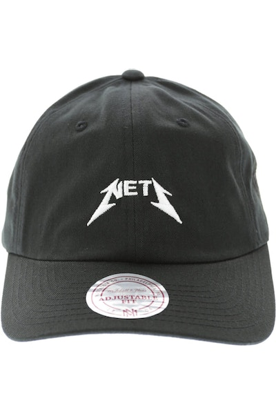 Mitchell & Ness Nets Rock Font Dad Hat Black