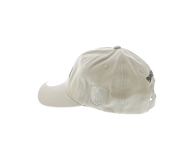 Mitchell & Ness Nets Rock Font Dad Hat Khaki
