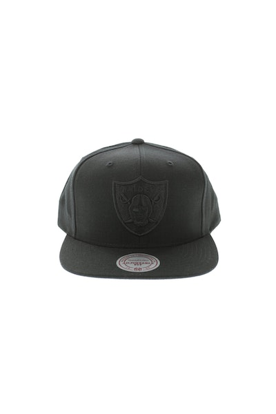 Mitchell & Ness Oakland Raiders Flat Peak Embroidered Tonal Logo Snapback Black