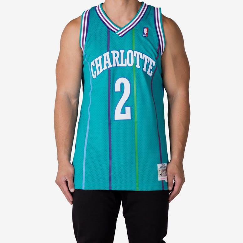Mitchell   Ness Charlotte Hornets Larry Johnson  2 Swingman Jersey Tea – Culture  Kings f5a38b66c