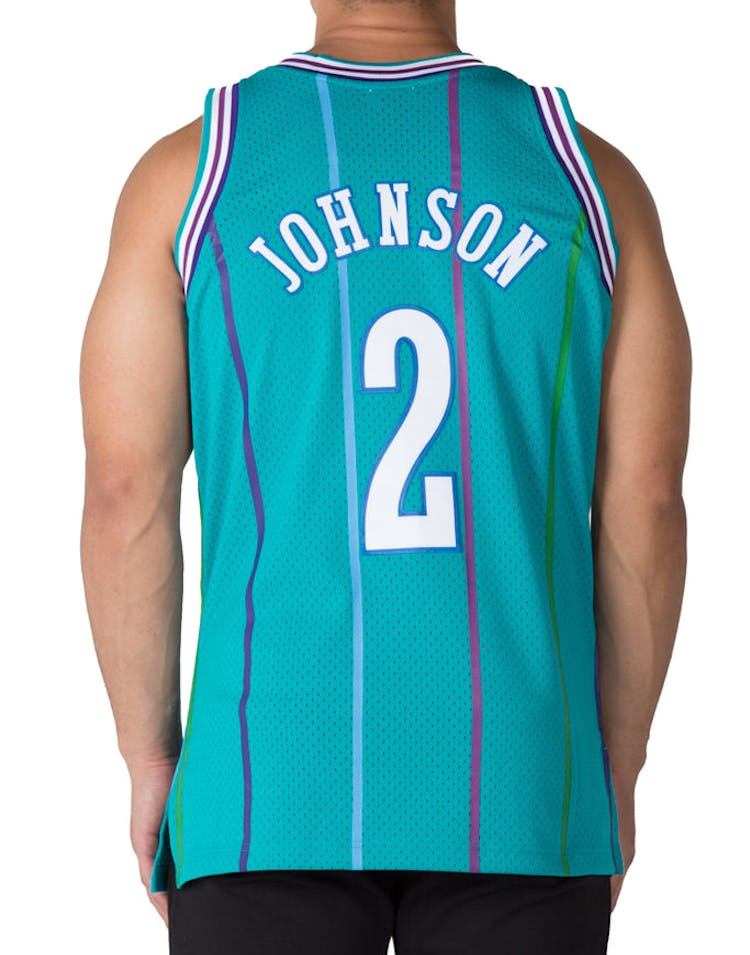 31356fa2261 Mitchell   Ness Charlotte Hornets Larry Johnson  2 Swingman Jersey Teal  White