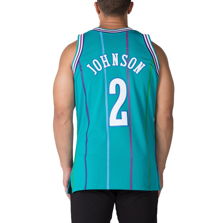 687113a6461 ... Mitchell Ness Charlotte Hornets Larry Johnson 2 Swingman Jersey  TealWhite ...