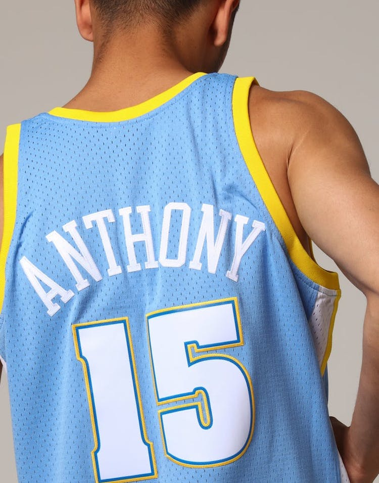 c954c69f2 Mitchell   Ness Denver Nuggets Carmelo Anthony  15 NBA Jersey Sky Blue –  Culture Kings