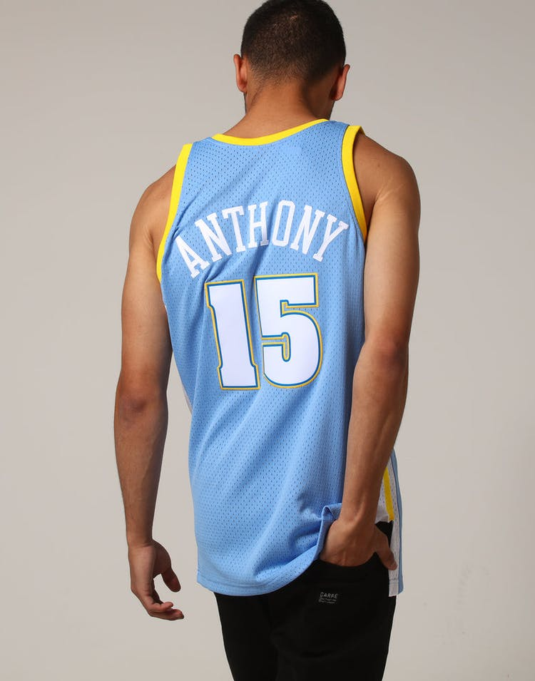 newest da29a 02957 Mitchell & Ness Denver Nuggets Carmelo Anthony #15 NBA Jersey Sky Blue