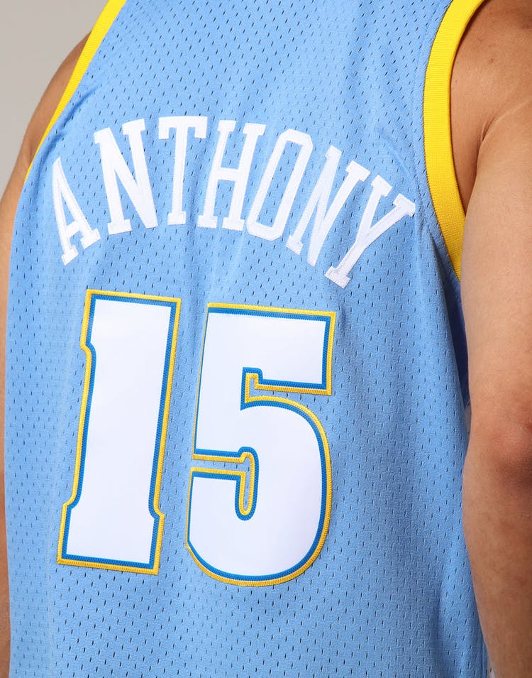newest f34a1 3f9c6 Mitchell & Ness Denver Nuggets Carmelo Anthony #15 NBA Jersey Sky Blue