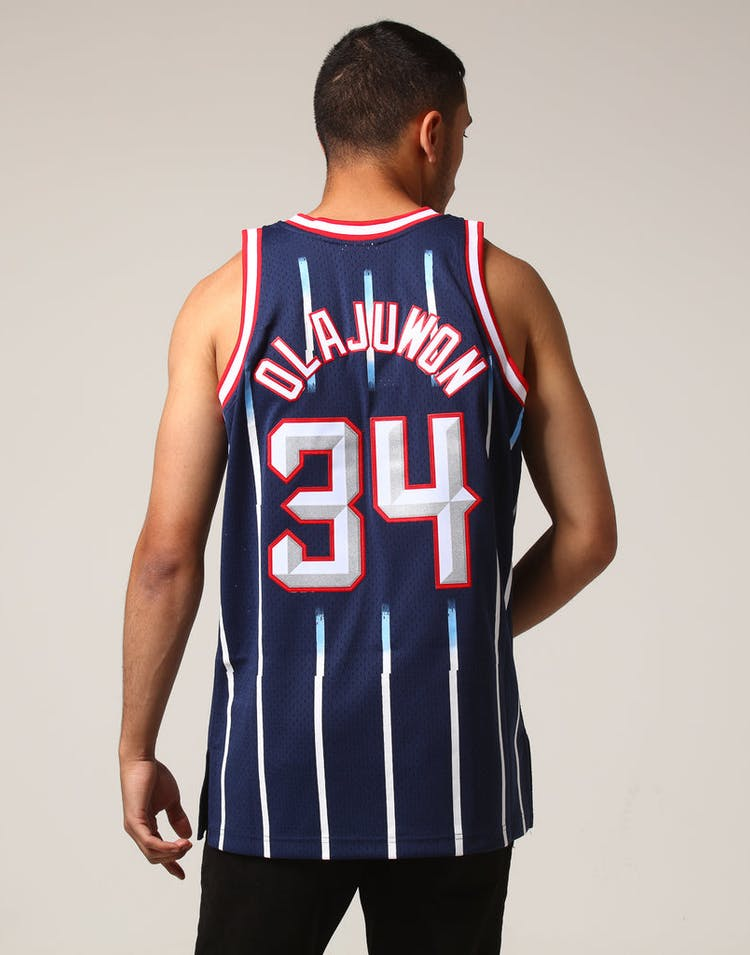info for d6929 36f50 Mitchell & Ness Houston Rockets Hakeem Olajuwon #34 NBA Jersey Navy