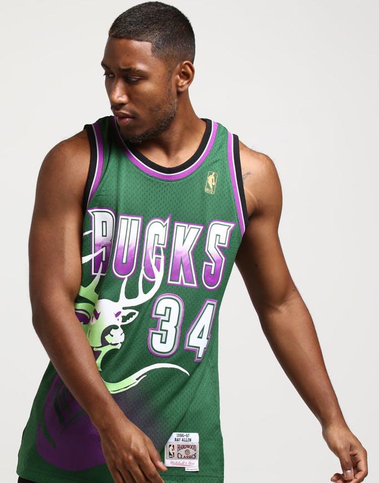 90aa8536afa Mitchell   Ness Milwaukee Bucks Ray Allen  34 Swingman Jersey Green Pu –  Culture Kings
