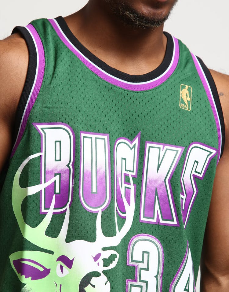 d1f22d0acb0 Mitchell   Ness Milwaukee Bucks Ray Allen  34 Swingman Jersey Green Purple