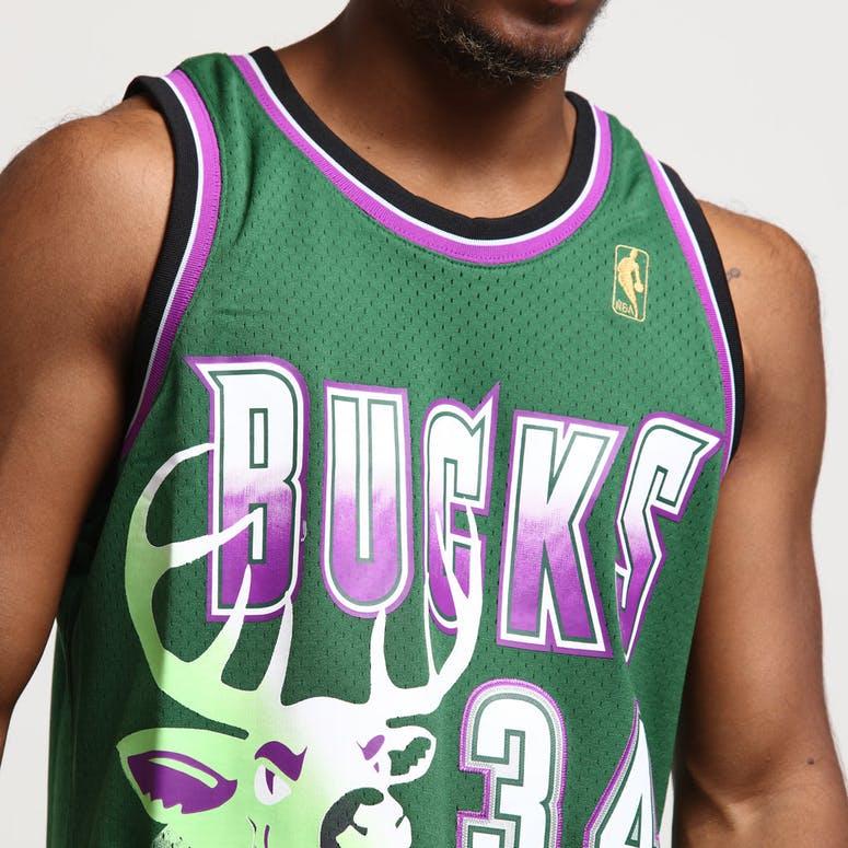 half off ad48f e1ed9 Mitchell & Ness Milwaukee Bucks Ray Allen #34 Swingman Jersey Green/Purple
