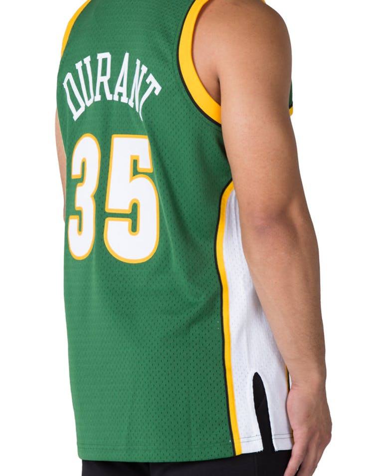 d7d166c97c4 Mitchell   Ness Seattle Supersonics Kevin Durant  35 Swingman Jersey Green  White Yellow