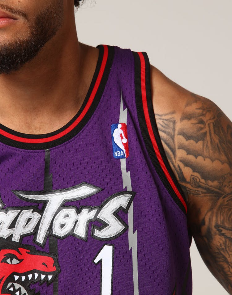 70505f8286a Mitchell & Ness Toronto Raptors Tracy McGrady #1 NBA Jersey Purple –  Culture Kings