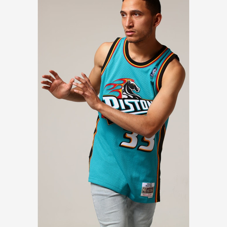 finest selection abf57 23de1 Mitchell & Ness Detroit Pistons Grant Hill #33 NBA Jersey Teal
