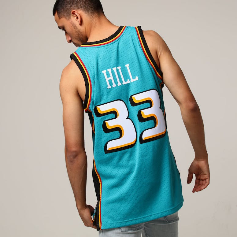 Mitchell   Ness Detroit Pistons Grant Hill  33 NBA Jersey Teal ... c53f263a5