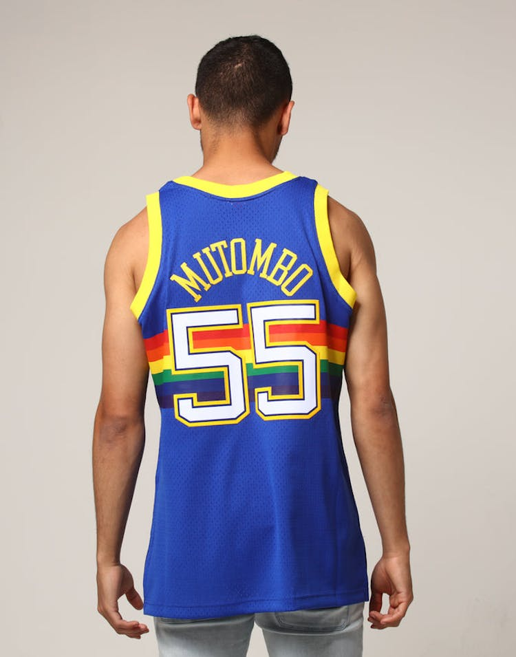 1c6d081310d Mitchell   Ness Denver Nuggets Dikembe Mutombo  55 NBA Jersey Royal –  Culture Kings
