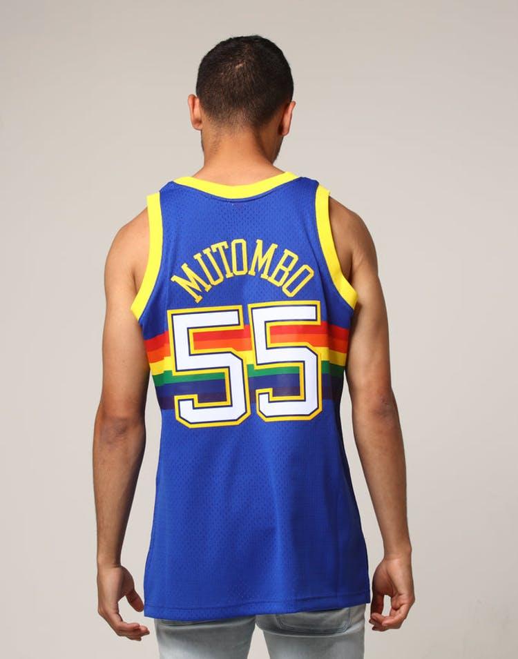 the best attitude b3e98 f8859 Mitchell & Ness Denver Nuggets Dikembe Mutombo #55 NBA Jersey Royal