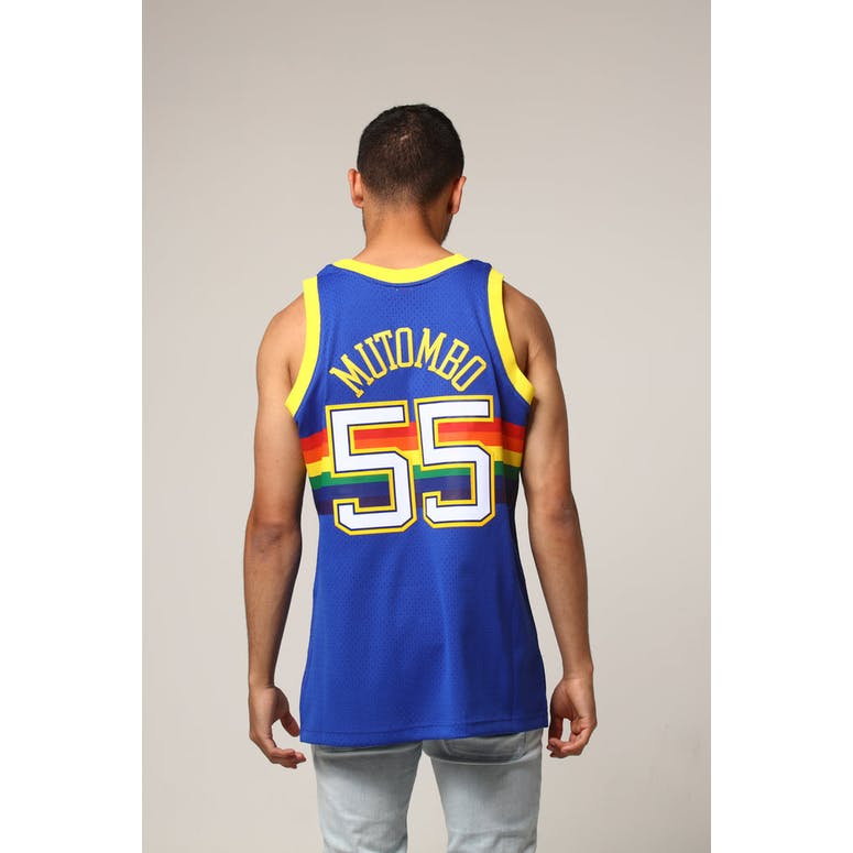 the best attitude aae4f b54c9 Mitchell & Ness Denver Nuggets Dikembe Mutombo #55 NBA Jersey Royal