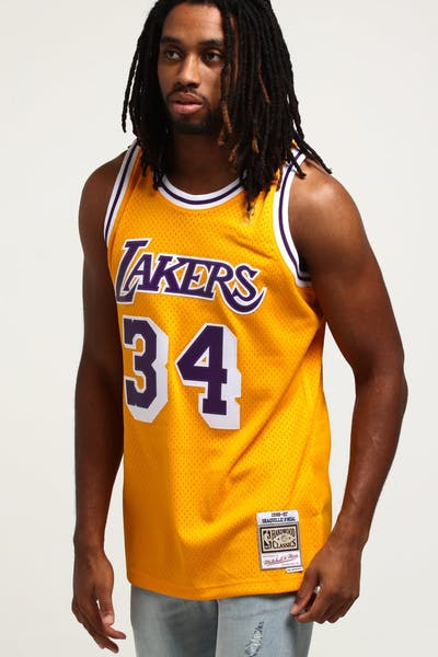 ae7ccb844 Mitchell   Ness Los Angeles Lakers Shaquille O Neal  34 Swingman Jersey  Yellow