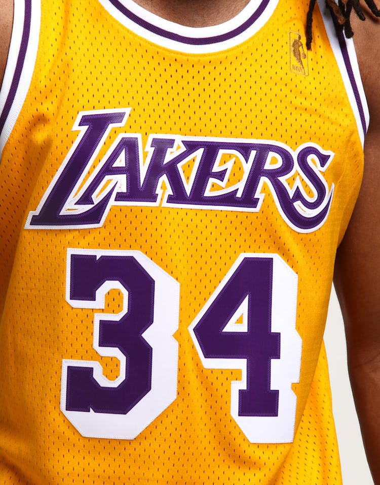 4593fcbe9 Mitchell   Ness Los Angeles Lakers Shaquille O Neal  34 Swingman Jersey  Yellow