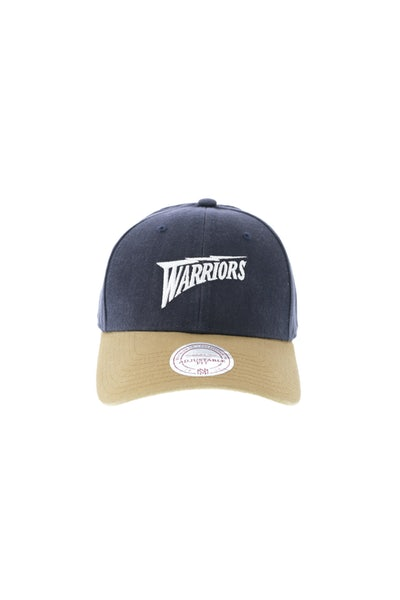 Mitchell & Ness Golden State Warriors Two Tone Wordmark Strapback Stone/Navy