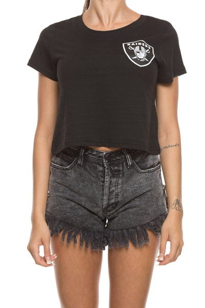 Majestic Athletic Women's Raiders Gypsa Crop Tee Black