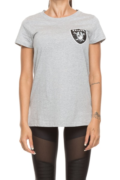 Majestic Athletic Women's Raiders Gamilia Standard Tee Grey