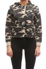 MAJESTIC ATHLETIC WOMEN'S DODGERS FRANKIE CROP HOOD CAMO