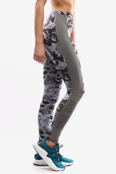 Majestic Athletic Women's Yankees Panel Leggings Grey Camo