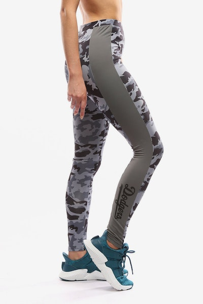 Majestic Athletic Women's Dodgers Panel Leggings Grey Camo