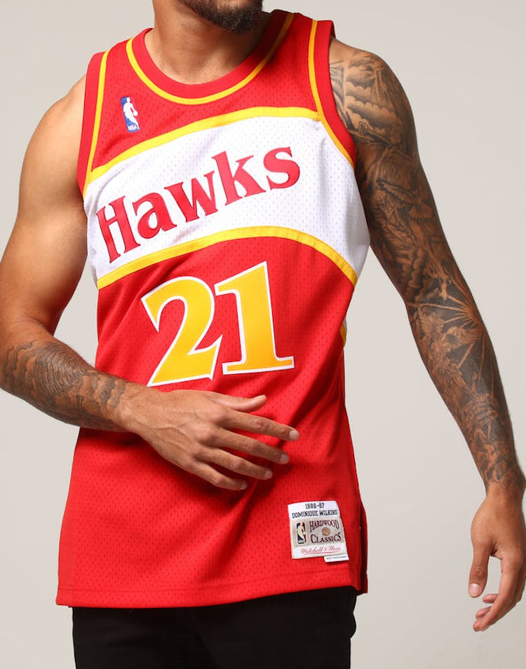 ac649013ab8 Mitchell   Ness Atlanta Hawks Dominique Wilkins  21 NBA Jersey Red –  Culture Kings