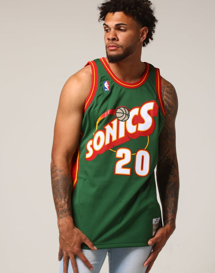 new style b2265 bdbd4 Mitchell & Ness Seattle Supersonics Gary Payton #20 NBA Jersey Green